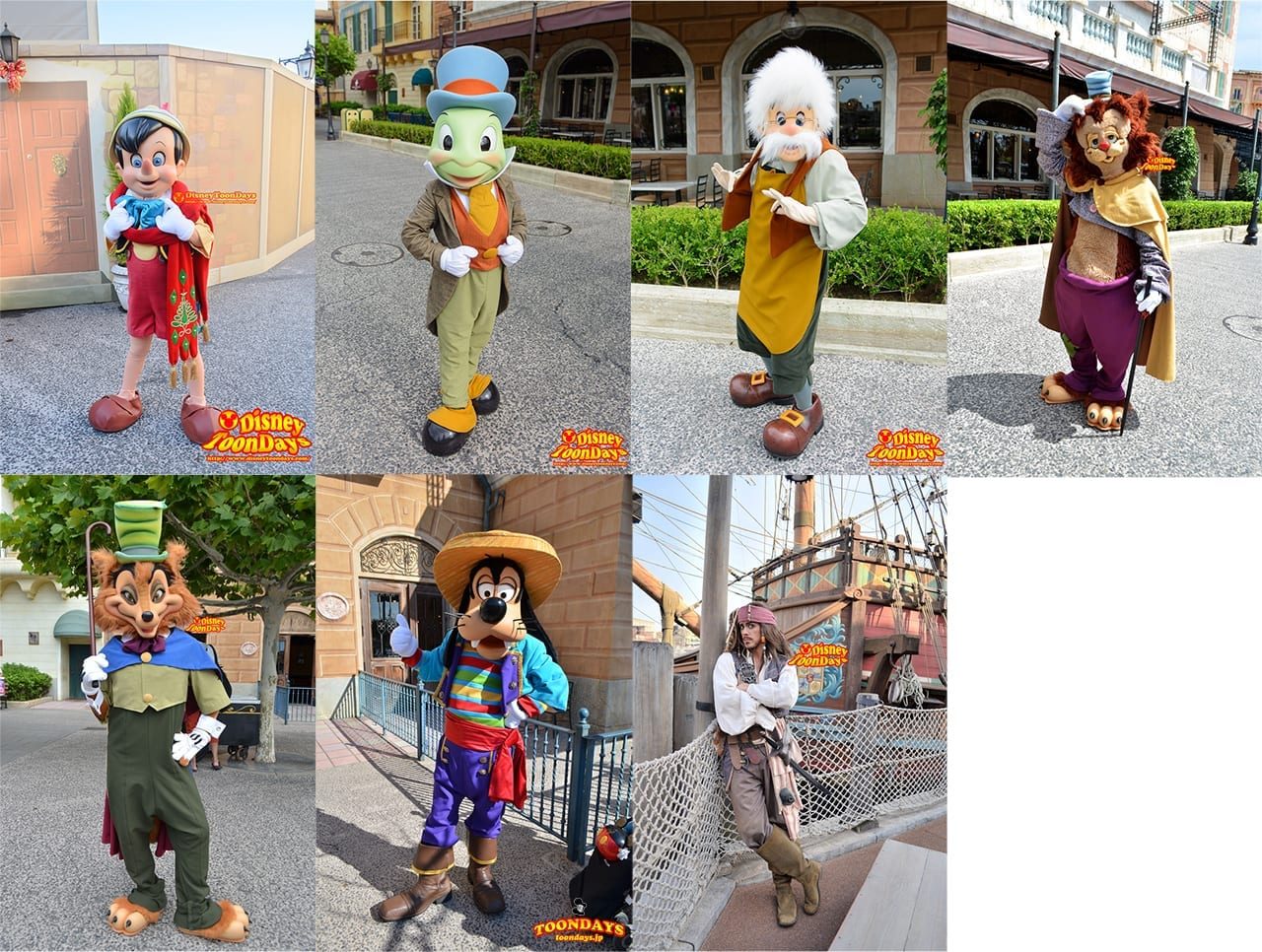 『メディテレーニアンハーバー』のグリーティングではピノキオやジャック・スパロウが登場