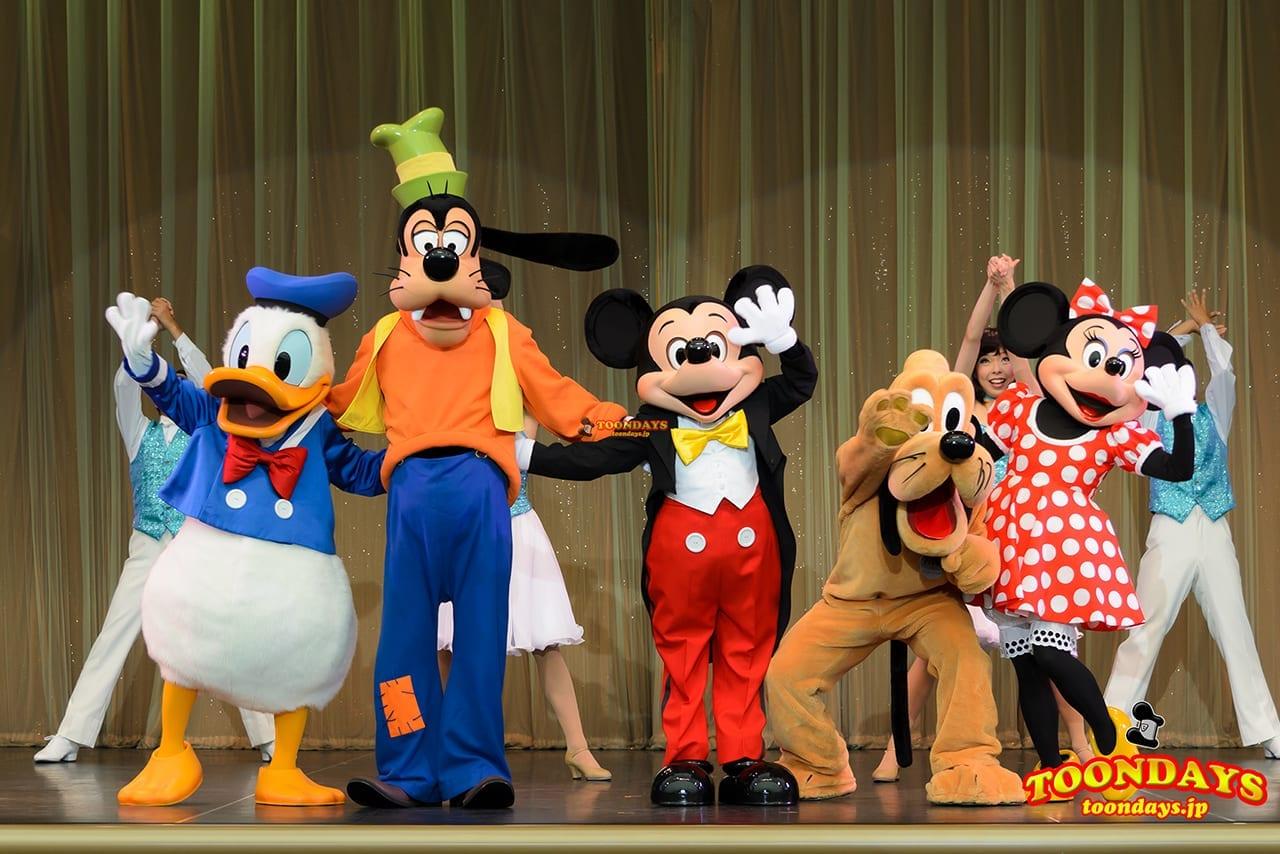 TDL トゥモローランド ショーベース パークファンパーティー ドナルドダック グーフィー ミッキーマウス プルート ミニーマウス