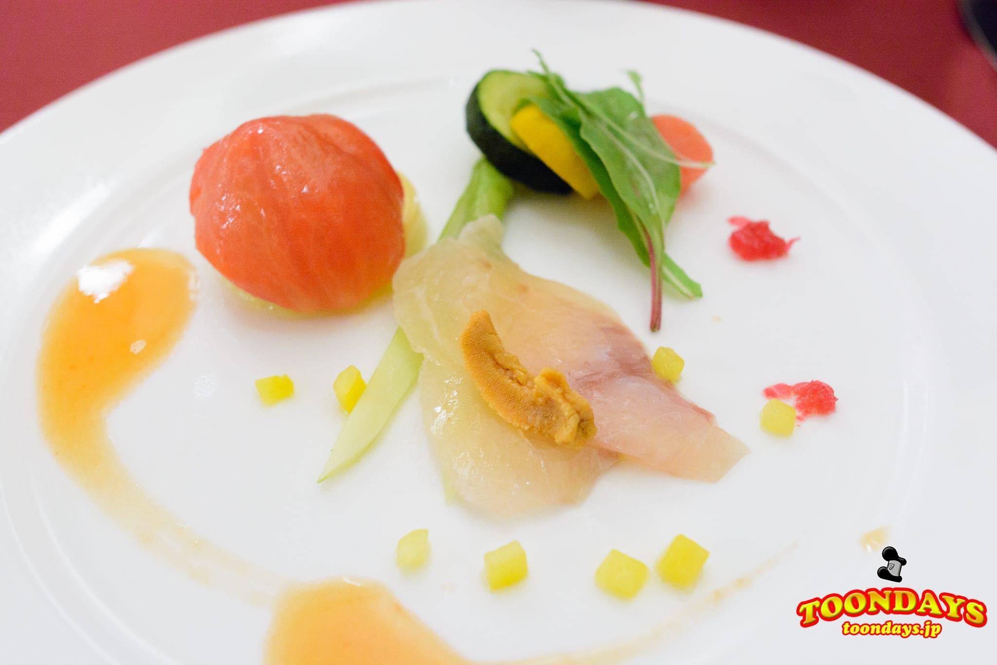 トマトのファルシ、帆立貝のタルタルとコーンムース~真鯛のマリネ添え~ マゼランズ  東京ディズニーシー15周年 ザ・ウィッシュ・オブ・イヤー スペシャルコース