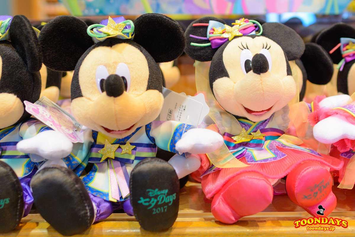 ミッキーマウス・ミニーマウスの七夕ぬいぐるみ