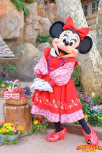 クリッターカントリーでの整列グリーティングのミニーマウス(ベリー詰みの衣装)
